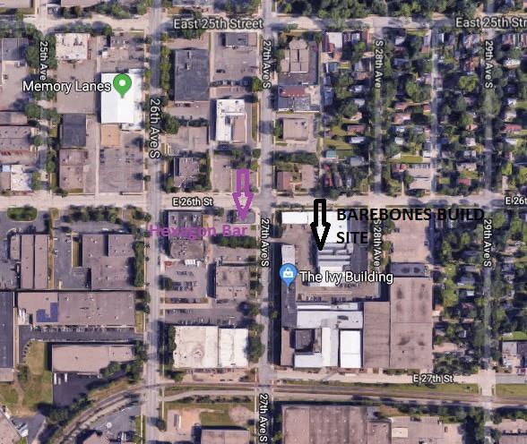 Map to BaereBones Build Site, behind the Ivy Building