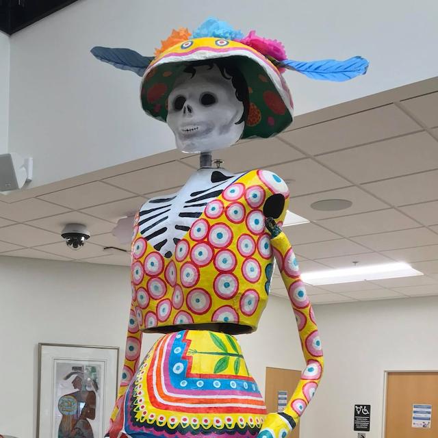 A 12 foot calavera puppet at CLUES.