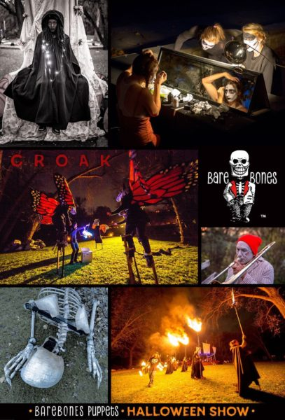 A collage of photos from the 2017 BareBones show, Croak.