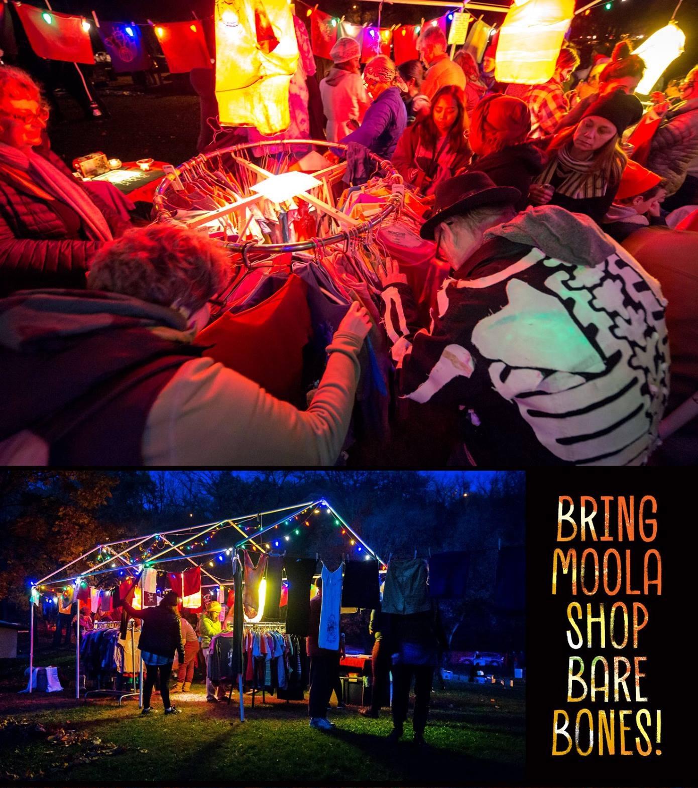 Bring Moola Shop BareBones! People shopping at a BareBones merch tent.