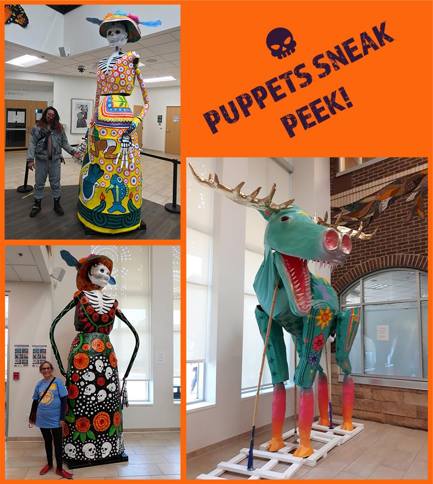Puppets sneak peak! Several 12 foot calavera puppets.
